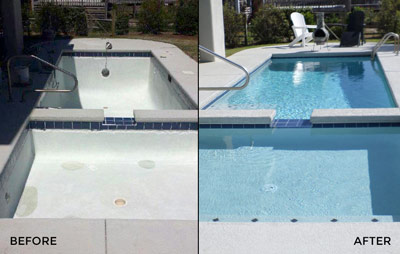 A Pool Medic pool repair in Myrtle Beach before and after photograph
